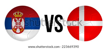 Serbia VS Denmark soccer ball concept isolated on white background - stock photo