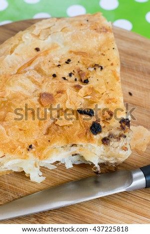 Serbian burek with meat flat lay - stock photo