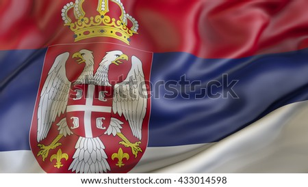 Serbian national flag waving in the wind 3d rendering - stock photo
