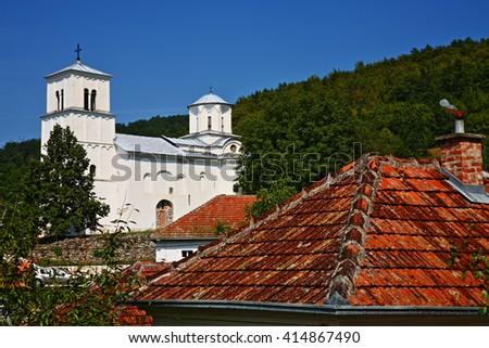 Serbian orthodox monastery, UNESCO world heritage site.  Pavlica Monastery in Serbia - stock photo