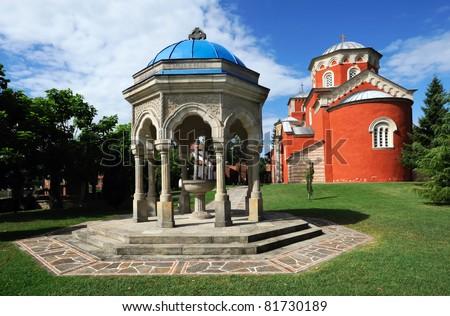 Serbian Orthodox Monastery Zica, built in 13th century - stock photo