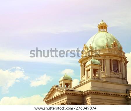 Serbian parlament building - Belgrade Serbia - stock photo