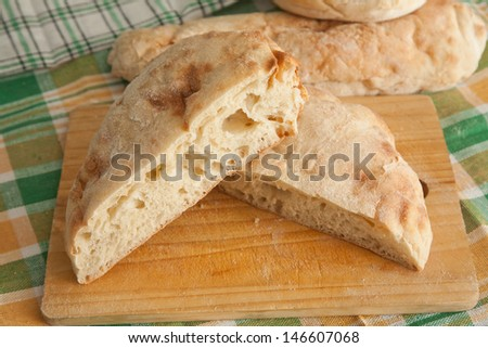 Serbian traditional bread - pogacha, pogaca - stock photo
