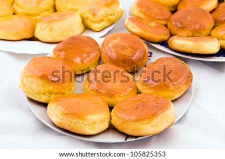 Serbian traditional donuts with honey