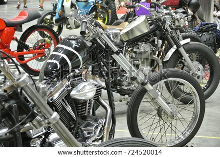 SERDANG, MALAYSIA -JULY 29, 2017: Custom made motorcycle displayed. Owner design creatively and modified their own old bike to new concept and theme.