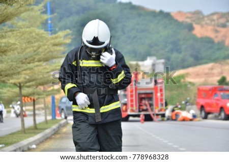 Seremban, Malaysia, 21 December 2017. The special forces Hazmat Fire and Rescue Department of Malaysia, making exercise a chemical spill.