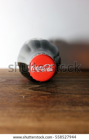 SEREMBAN, MALAYSIA - JAN 18, 2017: bottle caps can of Coca-Cola Classic