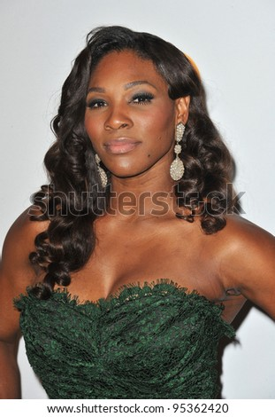 Serena Williams at the 2012 Clive Davis Pre-Grammy Party at the Beverly Hilton Hotel, Beverly Hills. February 11, 2012  Los Angeles, CA Picture: Paul Smith / Featureflash - stock photo