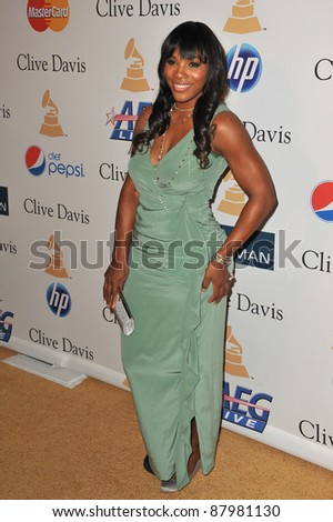 Serena Williams at the 2011 Clive Davis pre-Grammy party at the Beverly Hilton Hotel. February 12, 2011  Beverly Hills, CA Picture: Paul Smith / Featureflash - stock photo
