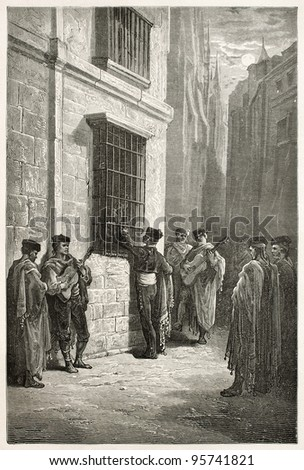Serenade in Cordoba old illustration, Spain. Created by Gustave Dore, published on Le Tour Du Monde, Paris, 1867