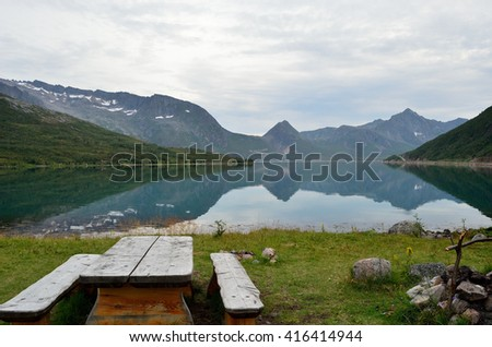 serene fjord surrounded by mountains in summer