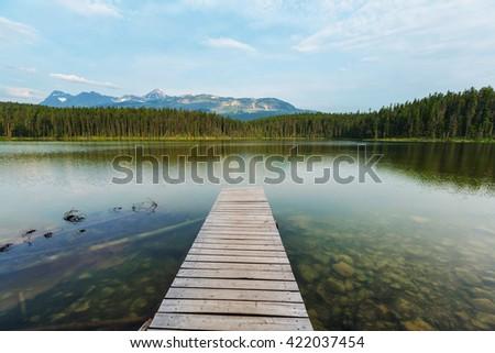 Serene scene by the lake in Canada - stock photo
