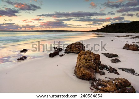 Serene sunrise at Hyams Beach Jervis Bay NSW Australia - stock photo