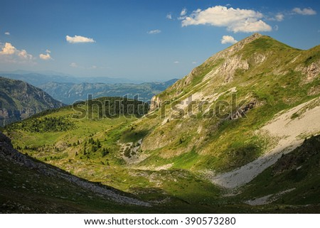 Serene View of Landscape in Visitor Mountains, Montenegro  Serene View of Landscape in Visitor Mountains, Montenegro - stock photo