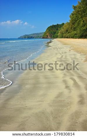 Serene view on the tropical sandy beach, Tarutao Island, Thailand - stock photo