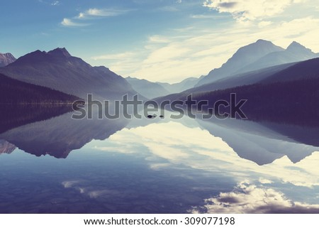 Serenity Bowman lake,Glacier National Park, Montana, USA - stock photo