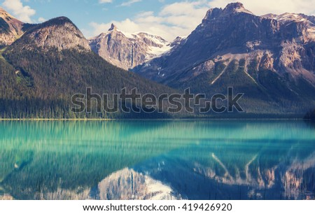 Serenity Emerald Lake in the Yoho National Park, Canada. Instagram filter - stock photo