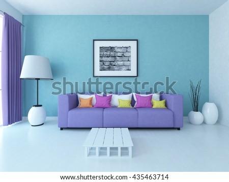 Serenity room with purple sofa. Living room interior. Scandinavian interior. 3d illustration - stock photo