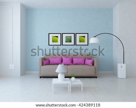 Serenity room with sofa. Living room interior. Scandinavian interior. 3d illustration - stock photo