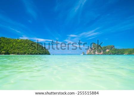 Serenity Shore Wallpaper View  - stock photo