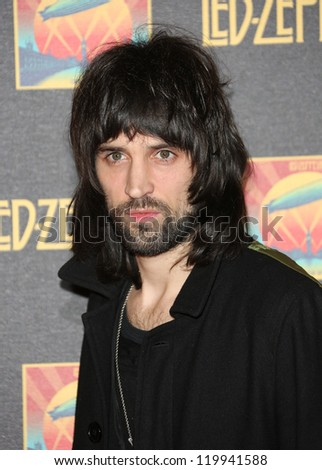 Sergio Pizzorno of Kasabian at the Led Zeppelin Celebration Day DVD screening launch held at Hammersmith Apollo London. 12/10/2012 Picture by: Henry Harris