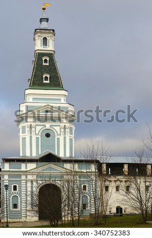 SERGIYEV POSAD, RUSSIA - NOV 23, 2012:Trinity Lavra is Russian monastery and spiritual centre of Russian Orthodox Church. It is situated about 70 km from Moscow and currently is home to over 300 monks