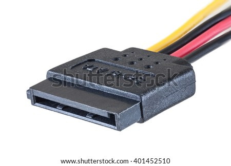Serial ATA power cable isolated on white background, clipping path, closeup - stock photo