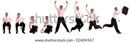 Series of a business man in different positions isolated