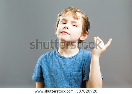 Series of a Little Boy, Expressions - Arrogant Story Teller - stock photo