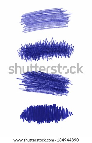 Series of blue pencil strokes on white background - stock photo