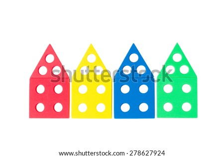 series of bright colored houses of the details of child constructor isolated on a white background, the concept of  building of new houses in the city, the concept of own new home - stock photo