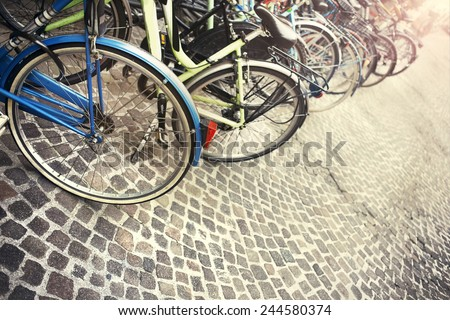 Series of city bicycles - stock photo