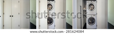Series of closet built for Front load washer and dryer with open closet. Great design idea when there is no laundry room. - stock photo