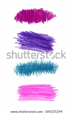 Series of color pencil strokes on white background - stock photo