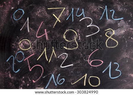 Series of colored numbers drawn with chalk on blackboard - stock photo