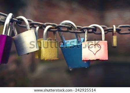 Series of colored padlocks  - stock photo