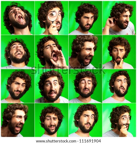 Series Of Expressive Man On Green Background - stock photo