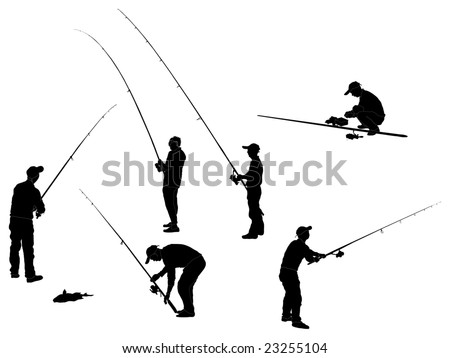 Series of Fisherman Silhouettes - stock photo