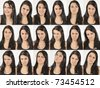 Series of head portraits of an angry and wondering natural young woman - stock photo