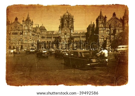 Series of illustrations on the old paper with old postcard. Railway station Victory . Mumbai, India