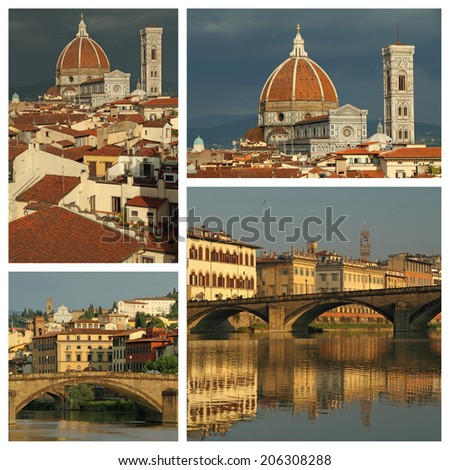 series of images with spectacular landscape of Florence, Italy - stock photo