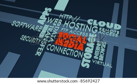 Series of internet buzz words, with focus on the word SOCIAL MEDIA. - stock photo