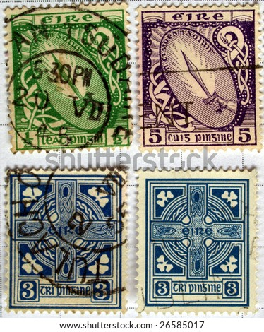 series of Irish postage stamps with postage meter from Ireland - stock photo