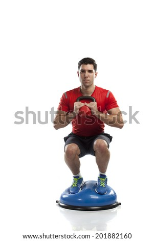 Series of kettlebell weight exercise sequence to promote strength and muscle tone - stock photo