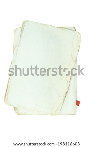 Series of Old Paper Texture on white Background with Clipping path