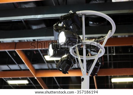 Series of outdoor arena lights - stock photo