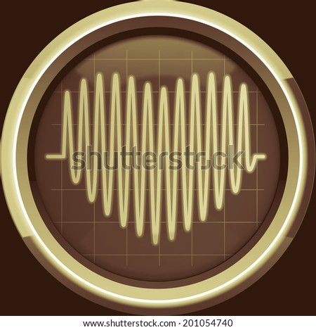 Series of pulses in the form of heart on the cardiomonitor or oscilloscope screen in brown tones, background - stock photo