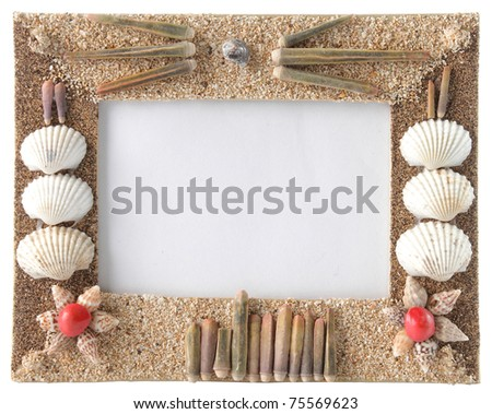 series of seashells scattered around the frame. isolate over white - stock photo