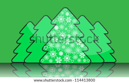 series of simple Christmas tree with reflection.Average Christmas trees decorated with white snowflakes. - stock photo