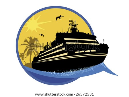 series of tourism steamship - stock photo